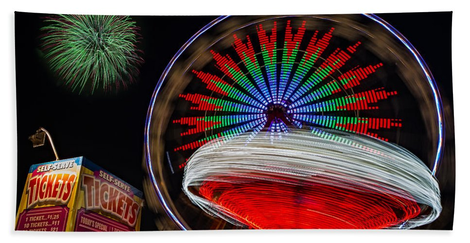 State Fair Hand Towel featuring the photograph In Motion by Susan Candelario