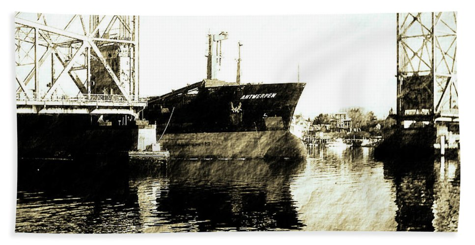 Ship Hand Towel featuring the photograph In Portsmouth Harbor by Marie Jamieson