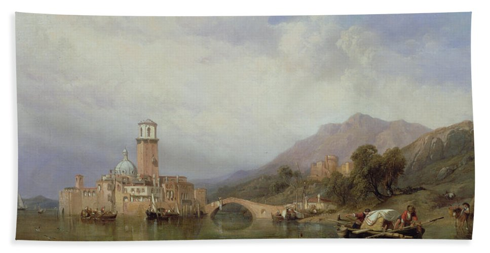 Landscape Hand Towel featuring the painting In The Gulf Of Venice by Clarkson R A Stanfield