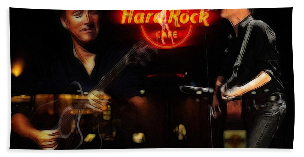 Bruce Springsteen Bryan Adams Hard Rock Cafe Oil Painting Famous Star Stars Musican Music Concert Bath Sheet featuring the painting In The Hard Rock Cafe by Steve K