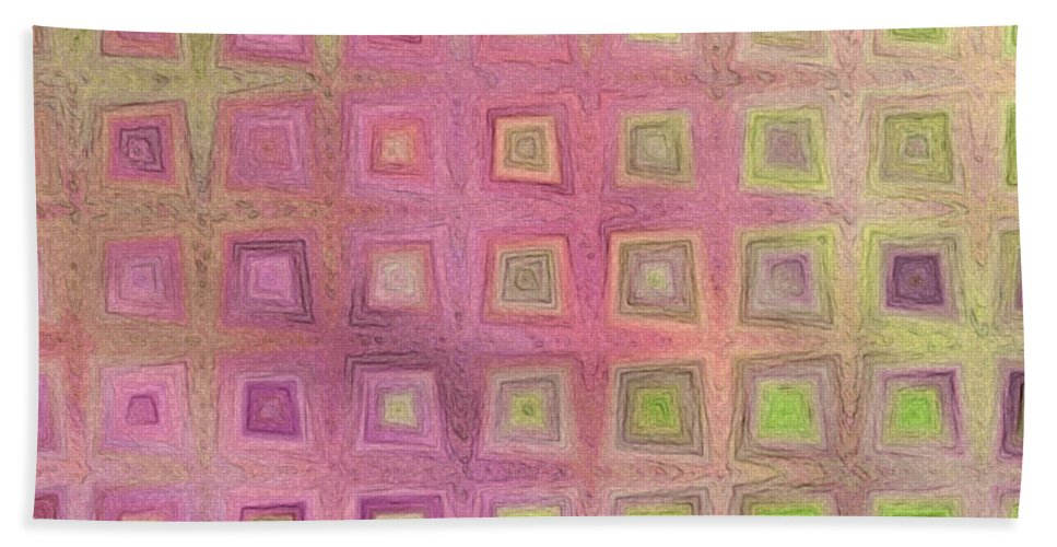 Abstract Bath Sheet featuring the digital art In The Pink With Squarish Squares by Debbie Portwood