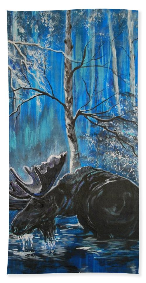 Moose Bath Sheet featuring the painting In The Still Of The Night Series 1 by Leslie Allen