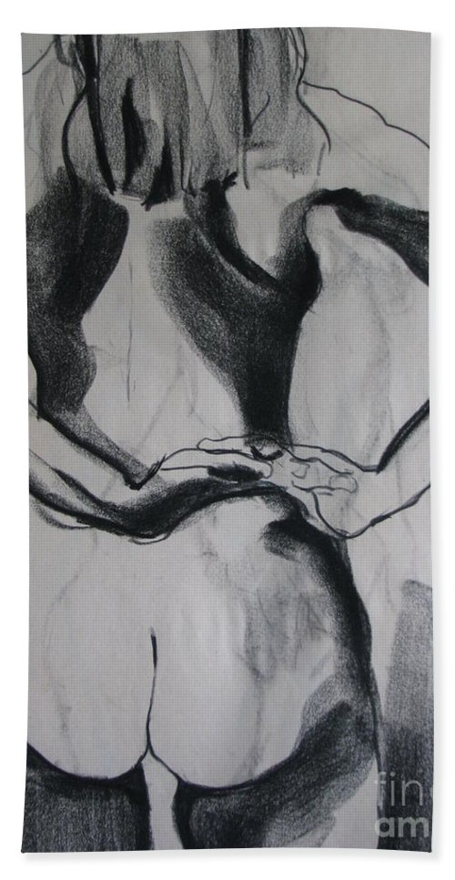 Figure Hand Towel featuring the drawing In The Studio by Rory Sagner