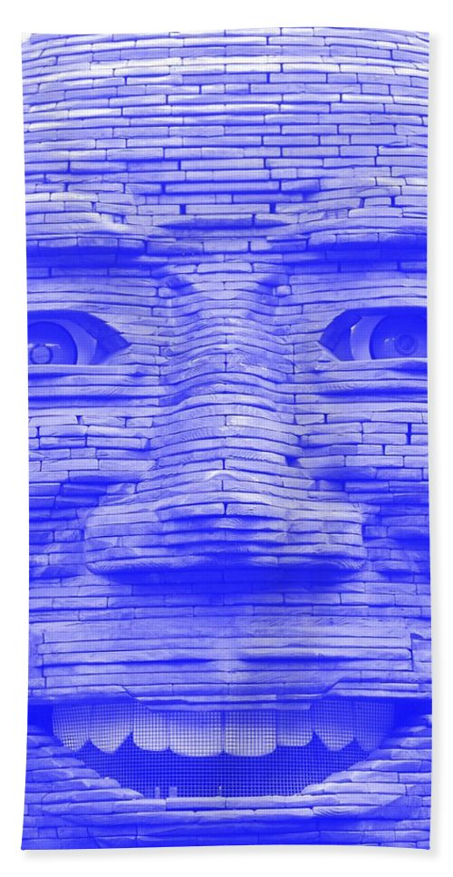 Architecture Bath Sheet featuring the photograph In Your Face In Negative Light Blue by Rob Hans