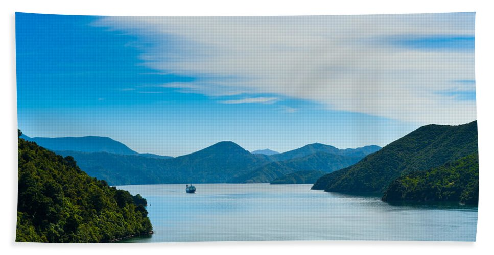 Bay Bath Sheet featuring the photograph Incoming Ferry Through A Fjord by U Schade