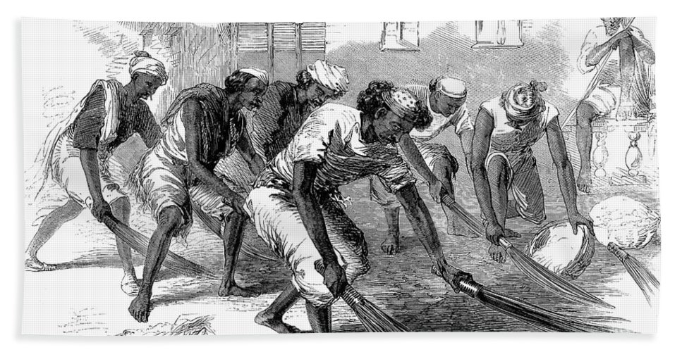 1860 Hand Towel featuring the photograph India: Street Sweepers by Granger