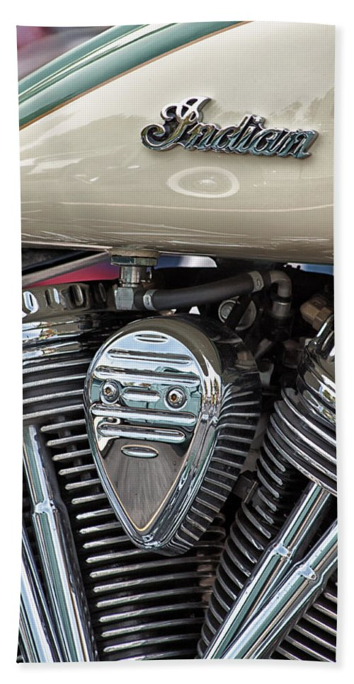 Indian Hand Towel featuring the photograph Indian Motorcycle Engine by Lauri Novak