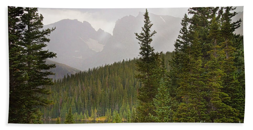 Scenic View Of Summer Day Of Sunshine And Rain At The Indian Peaks Wilderness Area Hand Towel featuring the photograph Indian Peaks Colorado Rocky Mountain Rainy View by James BO Insogna