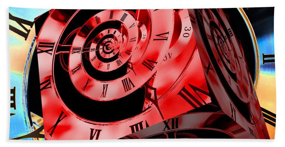 Clock Bath Sheet featuring the photograph Infinity Time Cube Red On Blue by Steve Purnell