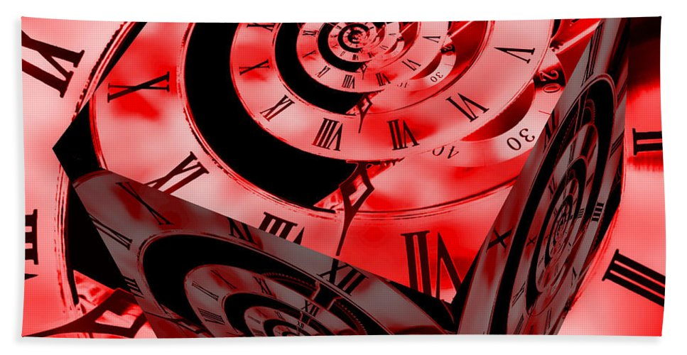 Clock Bath Sheet featuring the photograph Infinity Time Cube Red by Steve Purnell