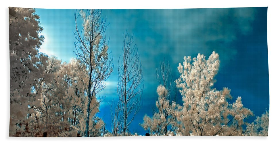 Infrared Hand Towel featuring the photograph Infrared Summer Storm by Steve Harrington