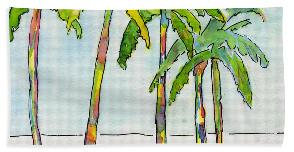 Palm Trees Bath Sheet featuring the painting Inked Palms by Mickey Krause