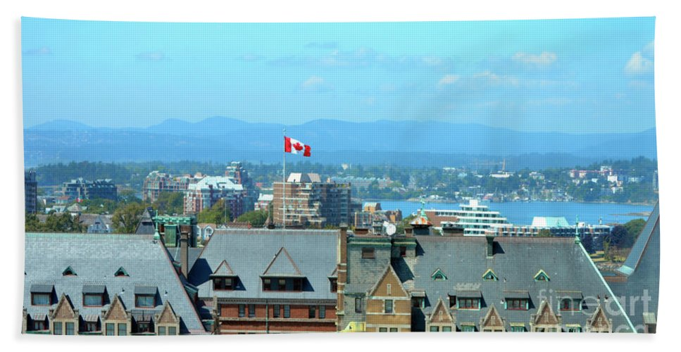 British Columbia Hand Towel featuring the photograph Inner Harbour As Seen Via Marriot Window by Traci Cottingham