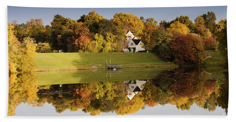 Autumn Hand Towel featuring the photograph Inspiration Lake In Autumn by Thomas Marchessault