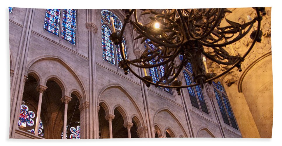France Bath Sheet featuring the photograph Interior Notre Dame Cathedral by Jon Berghoff