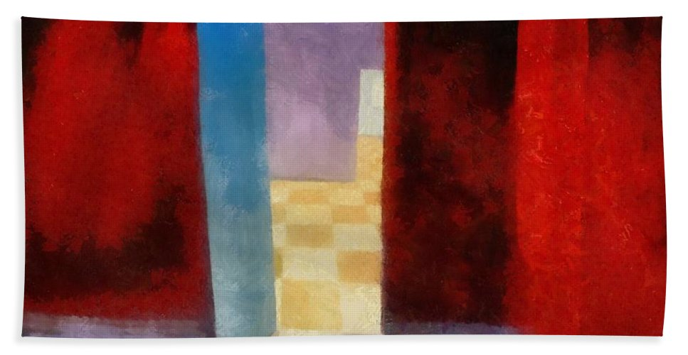 Red Hand Towel featuring the painting Interior With Red Walls by Michelle Calkins