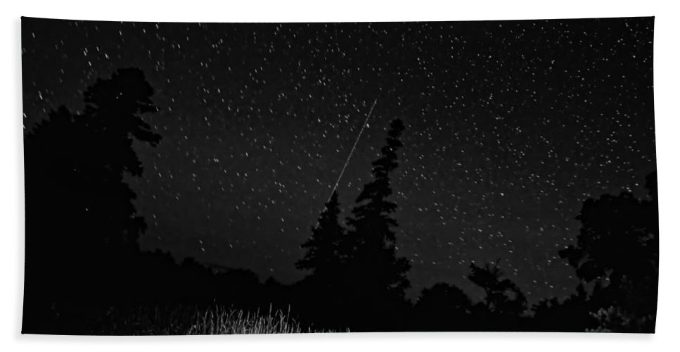 Galaxy Hand Towel featuring the photograph Into The Night Monochrome by Steve Harrington