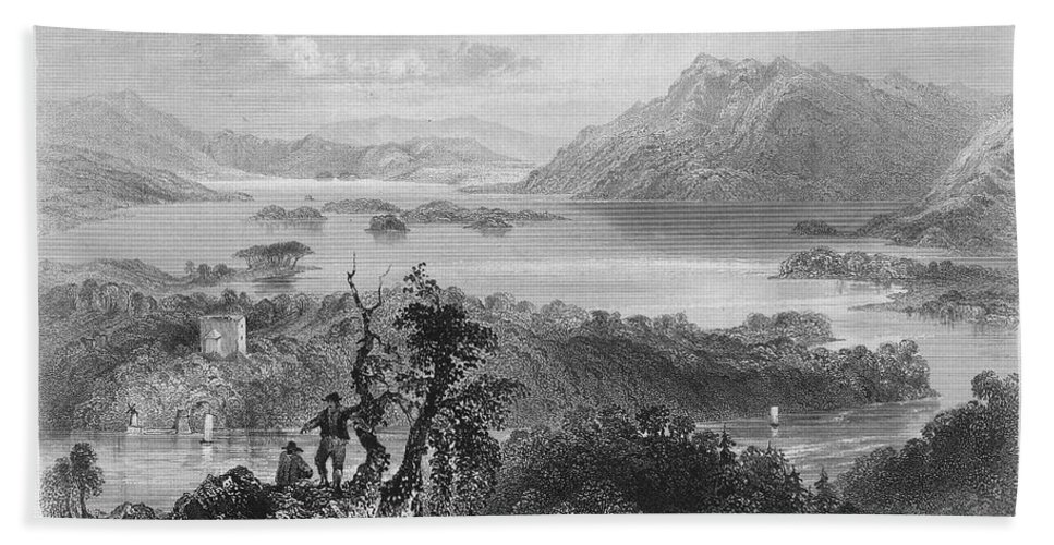 1840 Hand Towel featuring the photograph Ireland: Lough Gill, C1840 by Granger
