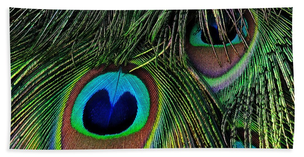 Peacock Bath Sheet featuring the photograph Iridescent Eyes by Bel Menpes