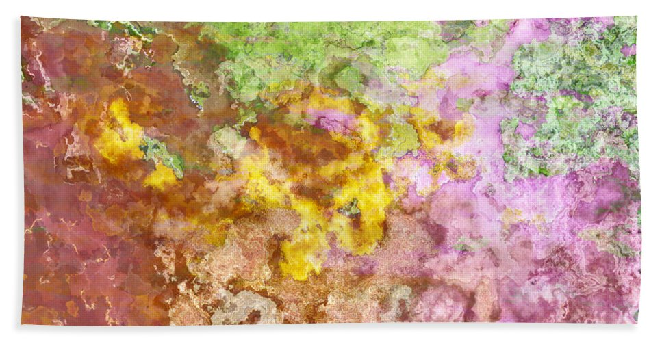 Abstract Bath Sheet featuring the digital art Iris Abstract I by Debbie Portwood