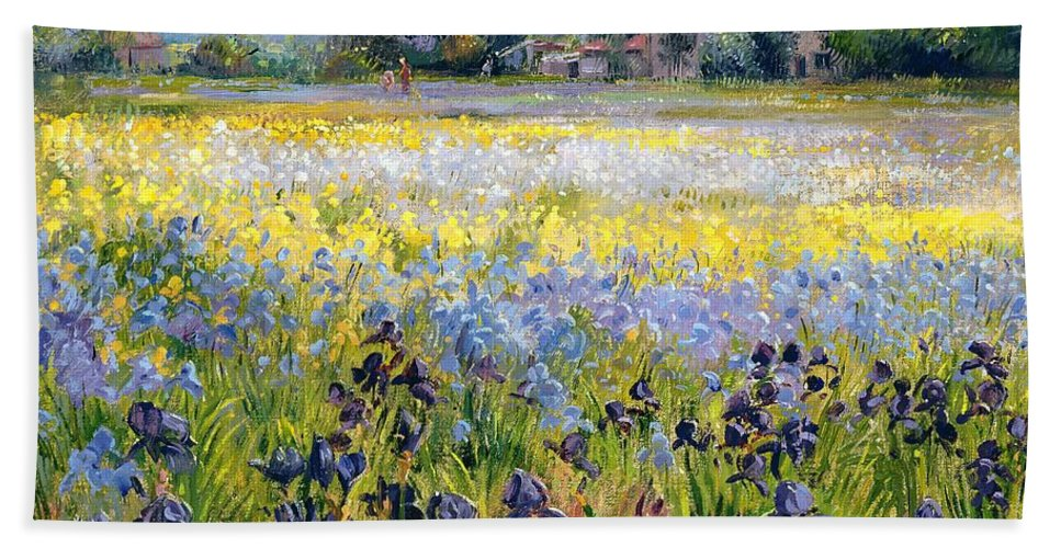 Landscape; Iris; Flower; Flowers; Irises; Tree; Trees; Field; House Bath Towel featuring the painting Irises And Two Fir Trees by Timothy Easton
