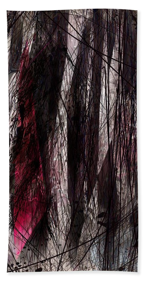 Abstract Bath Sheet featuring the digital art Is Anyone Listening by Rachel Christine Nowicki