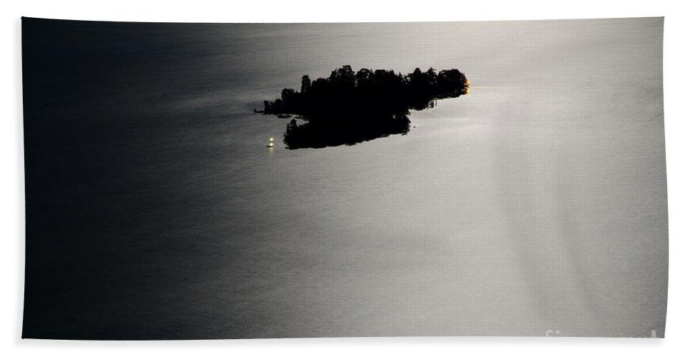 Island Bath Sheet featuring the photograph Island Illuminated With Moon Light by Mats Silvan
