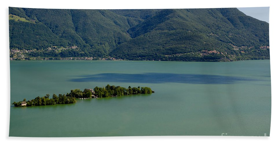 Island Bath Sheet featuring the photograph Islands On An Alpine Lake With A Shadow by Mats Silvan