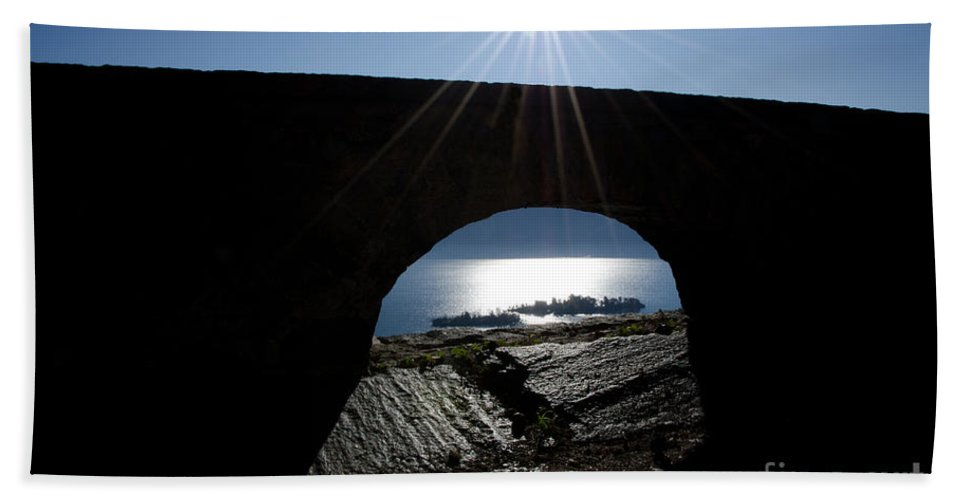 Islands Bath Sheet featuring the photograph Islands Watched From An Arch by Mats Silvan