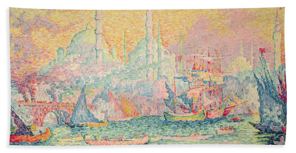 Neo-impressionist; Pointillist; Landscape; Hagia; Byzantine Architecture; Rowing Boat; Minaret; Constantinople Bath Sheet featuring the painting Istanbul by Paul Signac