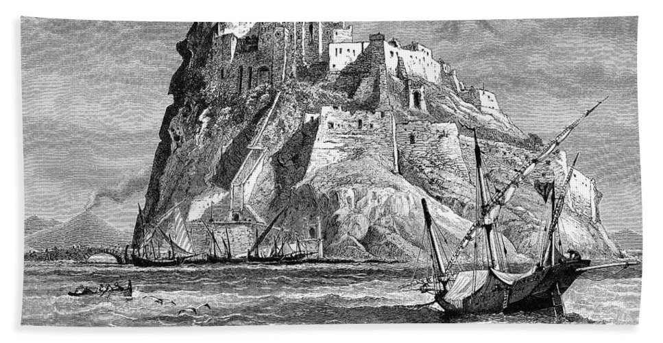 19th Century Bath Sheet featuring the photograph Italy: Castle Of Ischia by Granger
