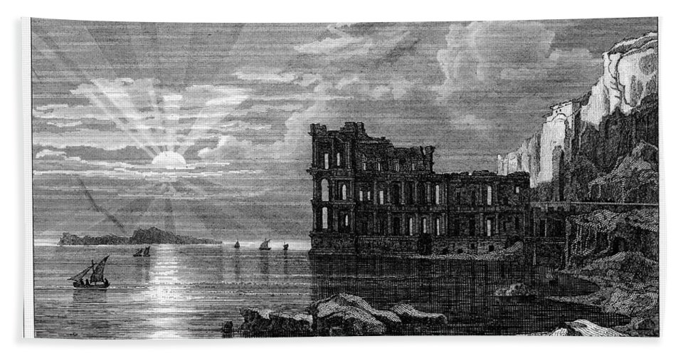 19th Century Hand Towel featuring the photograph Italy: Palace Ruins by Granger