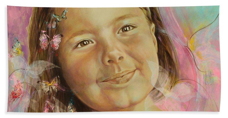 Portrait Bath Sheet featuring the painting Ivana's Portrait by Karina Llergo