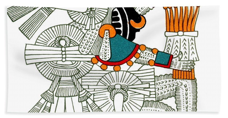 History Hand Towel featuring the Iztlacoliuhqui, Aztec God Of Frost by Photo Researchers
