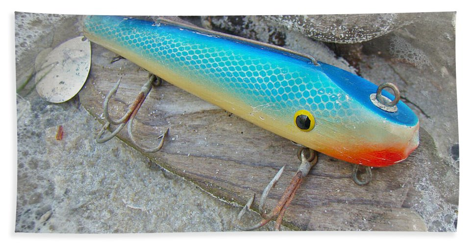 J And J Bath Sheet featuring the photograph J And J Flop Tail Vintage Saltwater Fishing Lure - Blue by Mother Nature