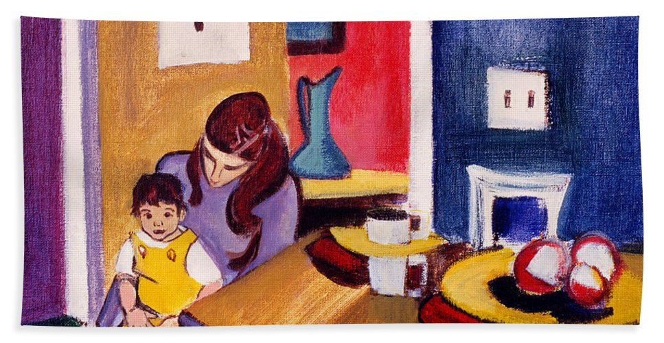 Mother And Small Child Hand Towel featuring the painting Jacquie And Jon by Betty Pieper