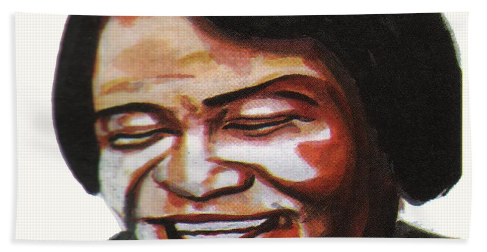 Portraits Bath Sheet featuring the painting James Brown by Emmanuel Baliyanga