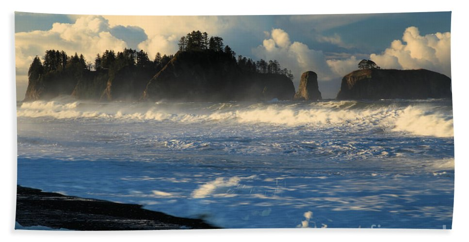 Rialto Beach Bath Sheet featuring the photograph James Island Storm by Adam Jewell