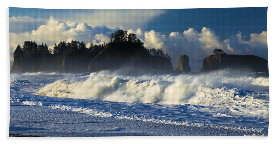 Rialto Beach Bath Sheet featuring the photograph James Island Surf by Adam Jewell