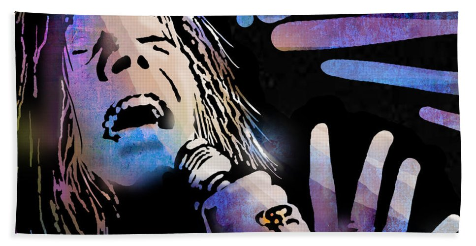 Blues Hand Towel featuring the painting Janis by Paul Sachtleben