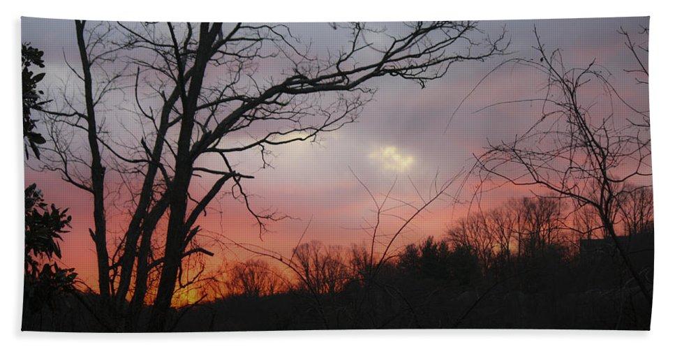 Sunrise Bath Sheet featuring the photograph January Sunrise 1 by Teresa Mucha