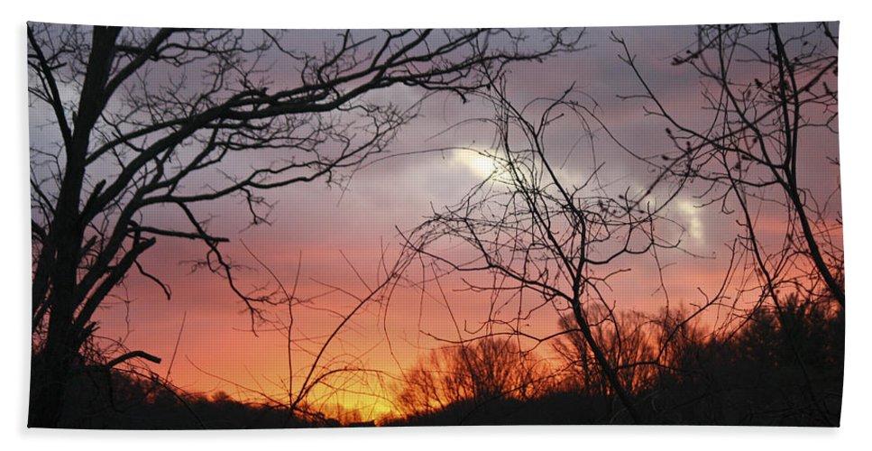 Sunrise Bath Sheet featuring the photograph January Sunrise 5 by Teresa Mucha