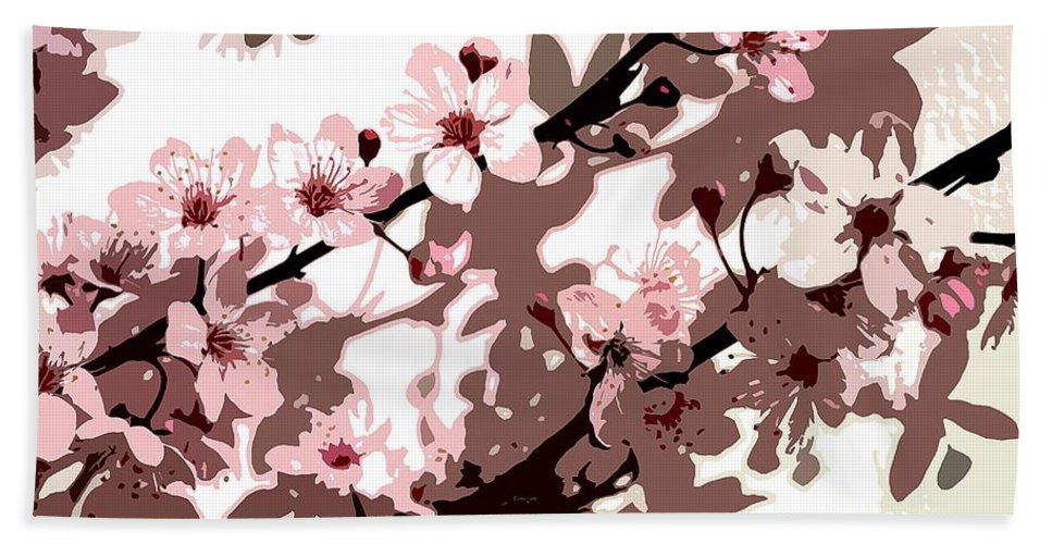 Climbing; Creeper; Flowers; Pink; Flower; Cherry; Cherries; Climb: Japanese Blossom Hand Towel featuring the painting Japanese Blossom by Sarah O Toole
