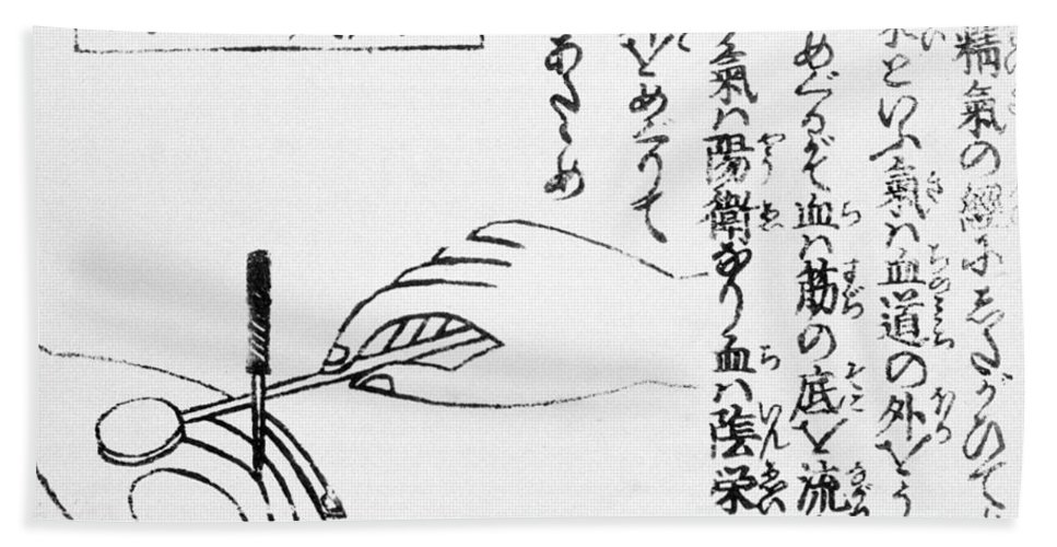 History Hand Towel featuring the photograph Japanese Illustration Of Moxa by Science Source
