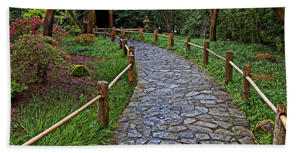 Japanese Tea Garden Path Hand Towel featuring the photograph Japanese Tea Garden Path by Garry Gay