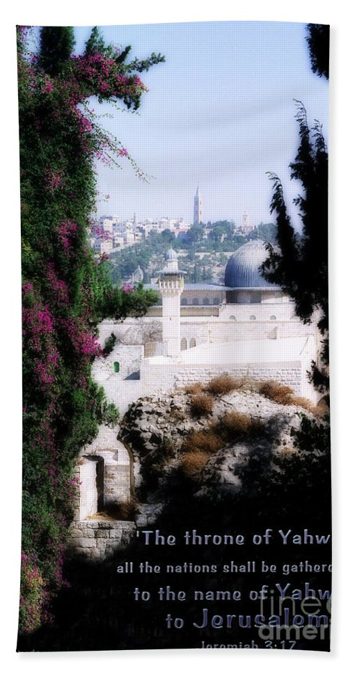 Jerusalem Hand Towel featuring the photograph Jerusalem Throne Of Yahweh by Constance Woods
