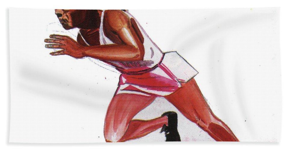 Sports Bath Sheet featuring the painting Jesse Owens by Emmanuel Baliyanga