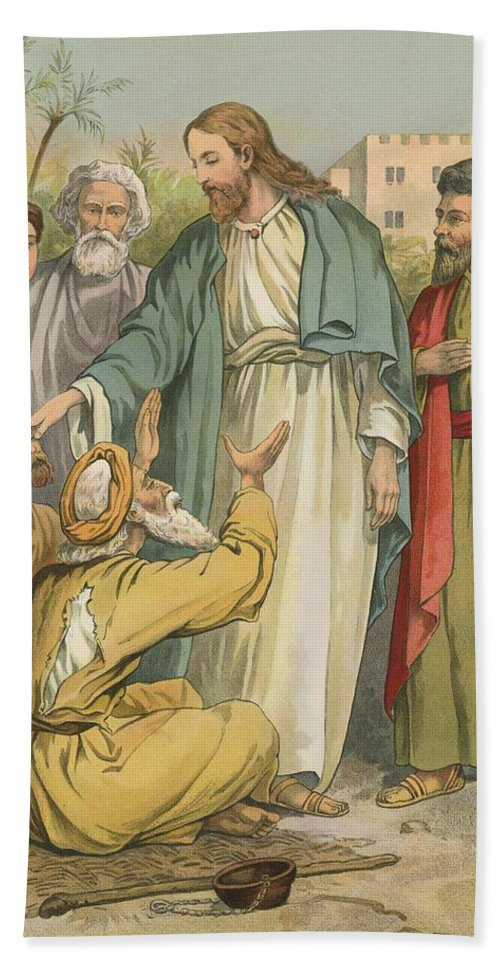 Bible; Children's; Jesus Christ; Blind Men Hand Towel featuring the painting Jesus And The Blind Men by English School