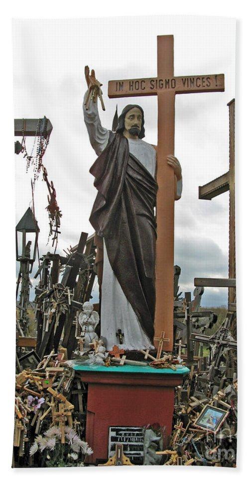 Lithuania Bath Sheet featuring the photograph Jesus On The Hill Of Crosses. Lithuania by Ausra Huntington nee Paulauskaite