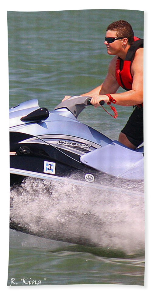 Roena King Hand Towel featuring the photograph Jet Ski Speed by Roena King